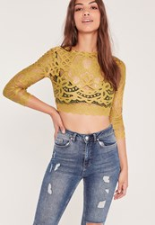 Missguided High Neck Lace Crop Top Chartreuse Green Chartreuse