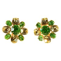 Alice Joseph Vintage 1990S Ivana Trump Gold Plated Diamante Clip On Earrings Green Lemon