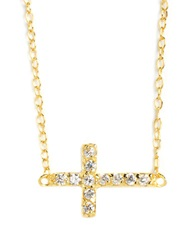 Lord And Taylor 18 Kt Gold Over Sterling Silver And Cubic Zirconia Sideways Cross Pendant Necklace