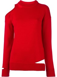 Erika Cavallini Cut Off Shoulder Sweater Red