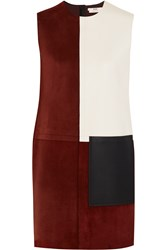 Edun Patchwork Suede And Leather Dress Red