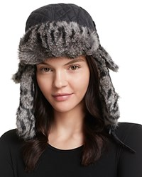 Surell Quilted Aviator Hat With Rabbit Fur Trim Black Civit Spotted