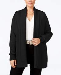 Charter Club Plus Size Textured Open Front Cardigan Only At Macy's Deep Black
