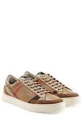 Burberry Shoes And Accessories Sneakers With Check Print Brown