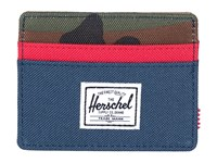 Herschel Charlie Navy Red Woodland Camo Credit Card Wallet