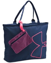 Under Armour Big Logo Tote Bag Midnight Navy Pink Sky