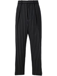 Marni Striped Front Pleat Trousers Black