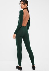 Missguided Green Low Back Long Sleeve Ribbed Jumpsuit