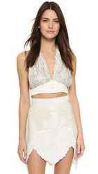 Rodarte Hand Beaded Halter Top White Gold