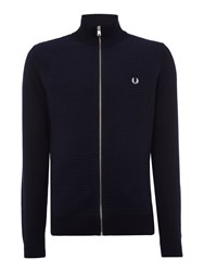 Fred Perry Men's Rib Zip Thru Funnel Neck Jumper Navy