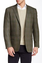 Hart Schaffner Marx Olive Plaid Two Button Notch Lapel Wool Blend Sport Coat Green