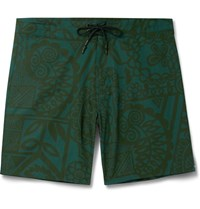 Outerknown Evolution Mid Length Printed Swim Shorts Green