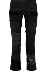 Junya Watanabe Patchwork Cotton Blend Twill Skinny Pants Black