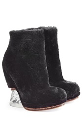 Fendi Shearling And Leather Ankle Boots Black