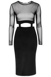 Mesh Insert Midi Bodycon Dress By Oh My Love Black