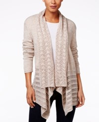 Karen Scott Pointelle Knit Open Front Cardigan Only At Macy's Beige Marl