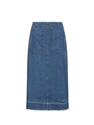Sea A Line Denim Midi Skirt