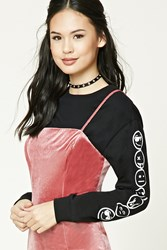 Forever 21 Happy Face Graphic Tee Black White