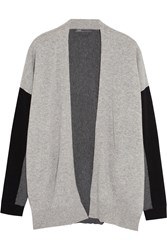 Vince Color Block Cashmere Cardigan Gray