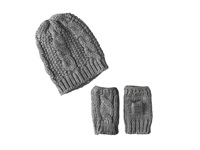 San Diego Hat Company Knh3340 Cable Knit Fingerless Gloves Beanie Set Charcoal Beanies Gray