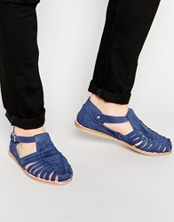 Dune Leather Woven Sandals Blue