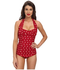 Unique Vintage Darling One Piece Swimuit Red Polka Dot Women's Swimsuits One Piece