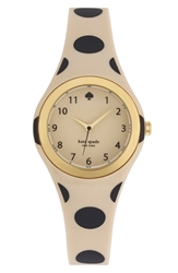 Kate Spade 'Rumsey' Plastic Strap Watch 30Mm Beige Black Polka Dot