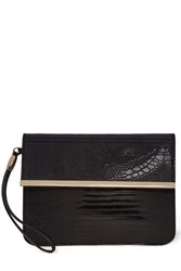 Warehouse Clean Bar Detail Clutch Black