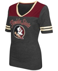 Colosseum Women's Florida State Seminoles Twist V Neck T Shirt Charcoal Maroon