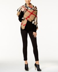 Charter Club Plaid Boucle Square Blanket Scarf Only At Macy's Heather Camel