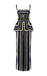 Naeem Khan Striped Sequin Gown