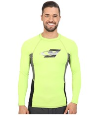 O'neill Skins Graphic Long Sleeve Crew Lime Graphite Black Men's Swimwear Yellow