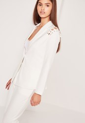 Missguided Lace Up Shoulder Blazer White White
