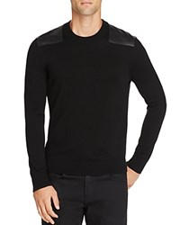 The Kooples Leather Patch Wool Sweater Black
