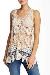 Romeo And Juliet Couture Floral Crochet Tank Beige