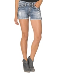 Silver Jeans Aiko Distressed Denim Shorts Indigo Wash