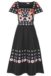 Temperley London Sylvie Embroidered Cotton And Silk Blend Dress Black