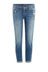7 For All Mankind Seven Embellished Cropped Jeans Blue