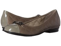 Ecco Touch Quilted Ballerina Warm Grey Stone Women's Slip On Shoes Brown