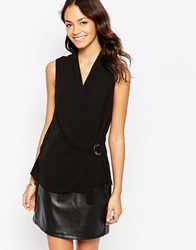 New Look Sleeveless D Ring Wrap Shell Top Black