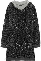 Maje Hooded Leopard Print Cotton Terry Sweater Dress Gray