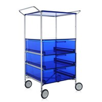 Kartell Mobil 3 Drawer Shelf And Wheels Blue