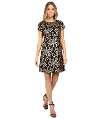 Jessica Simpson Scroll Embellished Sequin Dress Black Gold Women's Dress