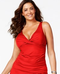 Anne Cole Plus Size Ruched Tankini Top Women's Swimsuit Red