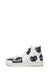 Comme Des Garcons Play High Top Canvas Sneakers In White Black