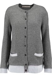 Marni Cashmere And Striped Cotton Poplin Cardigan Gray