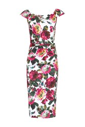 Jolie Moi Floral Print 40S Wiggle Dress White