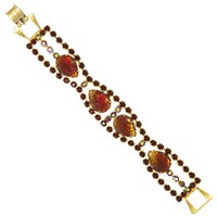 Eclectica Vintage 1950S Gold Plated Pear Shaped Glass Stones Bracelet Copper