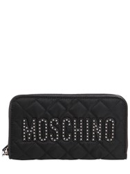 Moschino Studded Logo Quilted Zip Around Wallet
