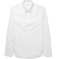 Givenchy Cuban Fit Star Embellished Cotton Shirt White